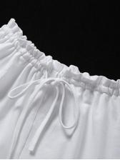 Lace-Up Straps Crescent Pattern White 2 Piece Set