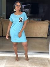 Leopard Pocket Casual Short Sleeve T Shirt Dress