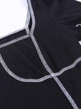Threaded Design Square Neck Black Short Sleeve Dress
