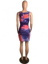 Stitching Color Tie Dye Sleeveless Bodycon Dress