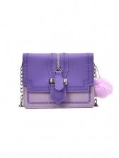 Plush Ball Pendant Contrast Color Chain Shoulder Bags