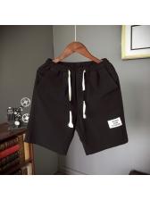 Solid Drawstring Casual Short Pants For Men