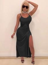 Sexy Solid Drawstring Sleeveless Maxi Dress