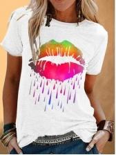 Casual Lips Printed Ladies t Shirts