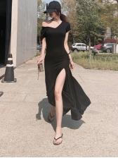 Hooded Solid High Slit Midi Dress