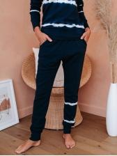 Loungewear Striped Long Sleeve Two Piece Sets