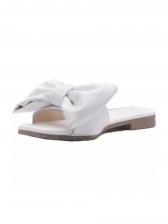 Square Toe Bow Decor Flat Stylish Slippers