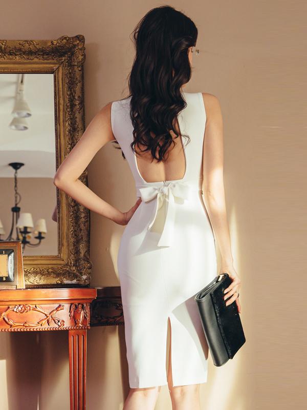 Stand Collar White Sleeveless Ladies Dress