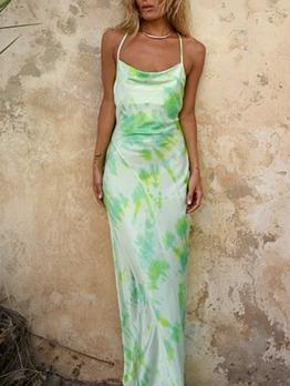 Low-Cut Backless Tie Dye Sleeveless Maxi Dress