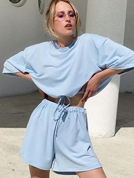 Plain Solid Color Drawstring 2 Piece Set Casual Wear