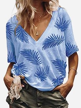 V-neck Leaf Printed Half Sleeves T-shirts