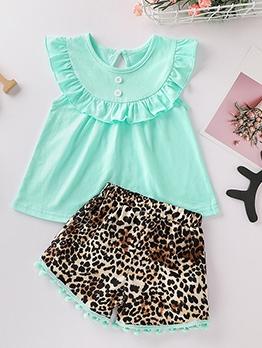 Stringy Selvedge Leopard Tassel Two Piece Summer Girls Set