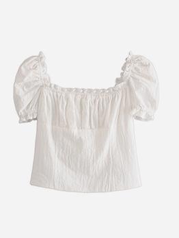 Simple Style Square Neck Plain White Blouse