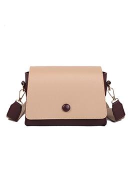 Stitching Color Detachable Wide Strap Shoulder Bags