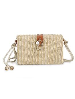 Metal Lock Thin Twist Strap Straw Box Shoulder Bags