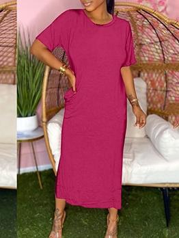 Casual Solid Slit Short Sleeve Maxi Dresses