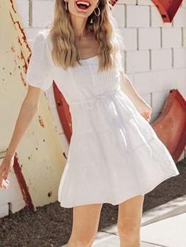 Stylish Square Neck White Ladies Dress
