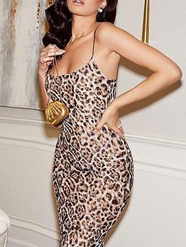 Fashion Leopard Print Sleeveless Prom Dress