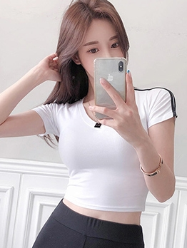 Side Seam Short Sleeve Cropped Cute t Shirts