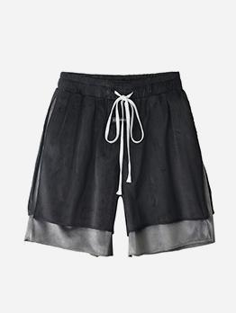 Fake Two-Piece Drawstring Loose Half Pants