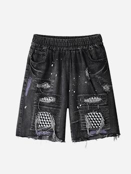 Elastic Waist Patchwork Straight Mens Denim Shorts
