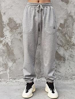 Solid Color Drawstring Sweatpants For Men