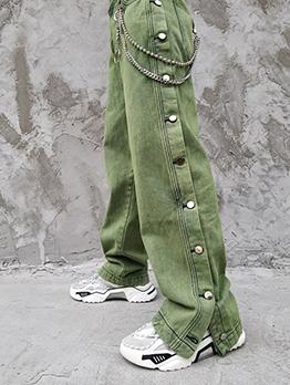 Hip-Hop Side Button Loose Mens Jeans
