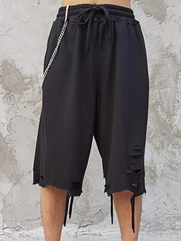 Holes Design Drawstring Loose Short Pants For Men