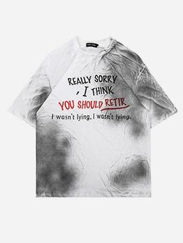 Gradient Color Letter Short Sleeve T Shirts For Men