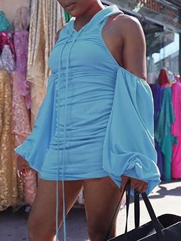 Ruched Hooded Cold Shoulder Long Sleeve Short Dress