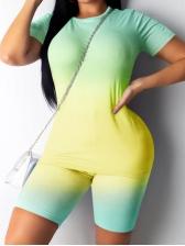 Gradient Color Short Sleeve Two Piece Shorts Set