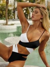 Cross Belt Contrast Color High Waist Swimwear