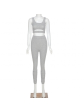 Simple Style Solid Sleeveless Cropped Tracksuit Set