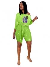 Summer Printed Off Shoulder Two Piece Shorts Set