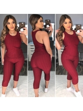 Solid Sleeveless Cropped Two Piece Tracksuit Set