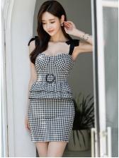 Sexy Plaid Ruffled Bodycon Dress