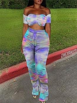 Multicolored Tie Dye Off Shoulder 2 Piece Pants Set