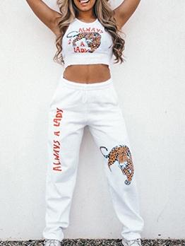 Letter Tiger Pattern Summer 2 Piece Pants Set