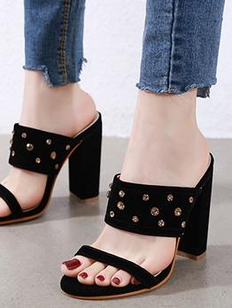 Suede Rhinestone Chunky Heel Ladies Slippers
