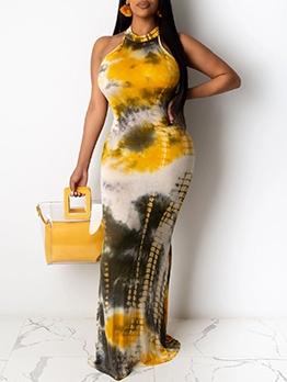 Floor Length Tie Dye Off Shoulder Maxi Dresses