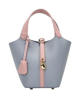 Stitching Color Metal Lock Women Bucket Handbags