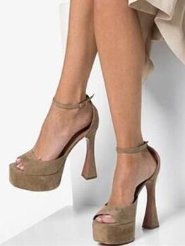 Peep-Toe Suede Goblet Heel Platform Sandals