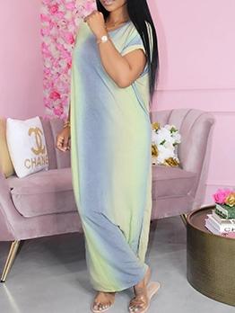 Gradient Color Side Slit Short Sleeve Maxi Dress