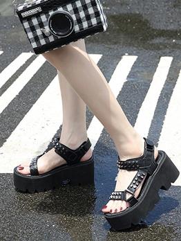 Street Wear Rivets High Platform Sandals