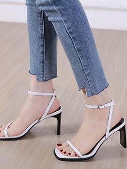 Simple Square Open Toe Ladies Sandal