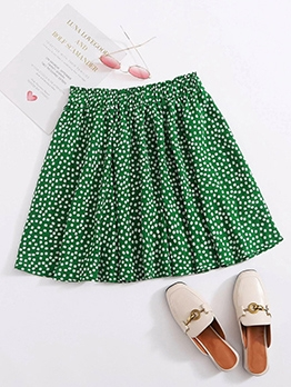 Summer Daisy Printed Pleated Skirts For Women