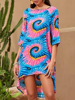 Casual Printed Half Length Sleeve Ladies Dress