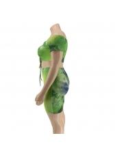 Off Shoulder Drawstring Tie Dye Plus Size Women Outfits