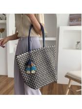 Straw Large Capacity Tassel Pendant Tote Shoulder Bags