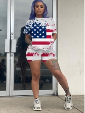 American Flag Printed Short Sleeve Two Piece Short Set